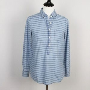 J.Crew Popover Shirt Womens Size 00 Cotton Blue